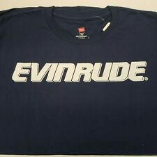 Evinrude Blue Short Sleeve Hanes Tagless T-Shirt with White Evinrude Logo.