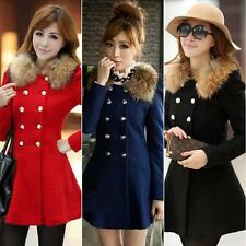New Women Woolen Winter Double Breasted Fur Collar Coat Jacket Trench Outwear