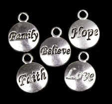 50Pcs Hot  Charms Retro Silver Hope/Faith/Love/BelievePendant Jewelry Making
