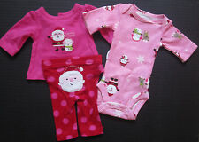 NEW Carters Christmas 3 piece outfit santa pink size preemie newborn 0 3 months