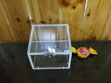 Square Hinged Lid Clear Acrylic Plexiglass Storage Box Display Container Case