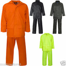 Overall Mens Hooded Rainsuit Waterproof Work Wear Clothing PVC Rain wear Size