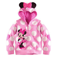 New Light Pink Girls Kids Minnie Mouse Polka Dots Hoodie Sweatshirt