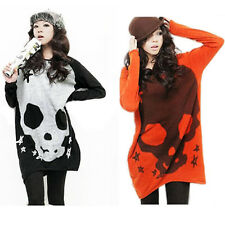 Womens SKULL Round Neck Long Sleeve Pullover Jumper Sweater Loose Knitwear Tops