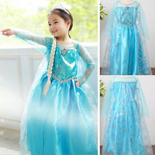 Kids Girls Frozen Princess Queen Elsa Anna Cosplay Costume Fancy Dress 3-8Y