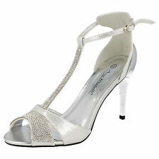 LADIES ANNE MICHELLE SILVER T-BAR SANDALS WITH DIAMANTE DETAIL F10279