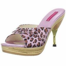 BORDELLO High Heels Leather Metal Stiletto Mule GENIE-101LP Pink Leopard