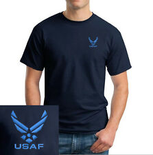 US Air Force Logo EMBROIDERED Navy Blue T Shirt *New* US Military