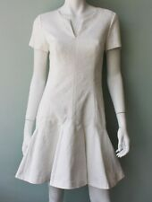 Rebecca Taylor Short Sleeve Flippy Dress White Jacquard SIze 2,4,6
