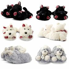 NEW LADIES NOVELTY SLIPPERS COMFY COSY XMAS GIFT SOFT ANIMAL BOOTIE MULE SIZES