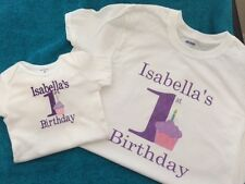 Embroidered Personalized Baby Mom Dad First 1 Birthday Bodysuit Onesie Cupcake