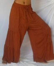 brown pants elastic waist ruffle tiers M L XL 1X 2X 3X 4X PLUS ONE SIZE