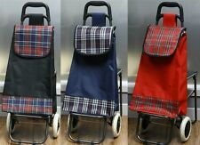 SHOPPING TROLLEY WITH FOLDING SEAT WITH TARTAN CHECK FOR GROCERIES AND FESTIVALS