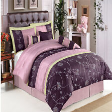 Purple with Lavender and Brown Floral Stitching 11-Piece Luxury Bed in a Bag
