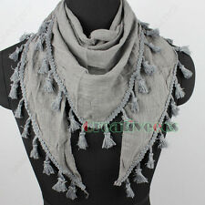 Women Girl's Simple Solid Color Triangle Scarf Shawl Wrap Lace Trim Tassel