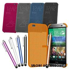OEM Matrix Dot View Smart Flip Case Cover And Long Stylus For HTC One (M8)