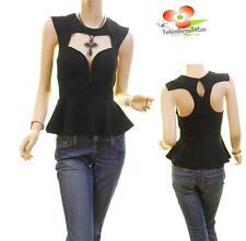 Celebrity Sexy Peek a Boo Gothic Goth Club Wear Peplum Fitted Blouse Shirt Top