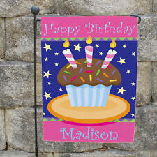 Happy Birthday Cake Cupcake Custom Personalized Garden Flag Yard Sign Decoration