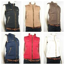 Women Pretty Quilt Front Gold Zipper With Pocket Padded Junior Vest S/M/L(088)
