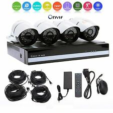 4CH Channel NVR Outdoor 720P HD IP PoE Security Camera System 500GB 1TB HDD