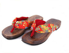 New Japanese Women Sandals Japanese Geta Women Floral Flat Clogs Wooden Sandals