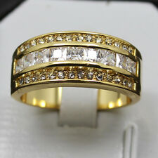 Size 8-13 COOL Mens White Sapphire 10KT Yellow Gold Filled Band Ring