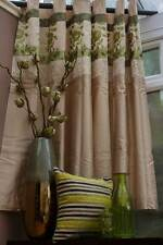 Beige & Green Floral Curtains - Eyelet Top - Various Sizes - 100% Polyester