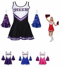 Ladies Cheerleader Costume Cheerleading  Outfits Fancy Clothes Costumes with pom