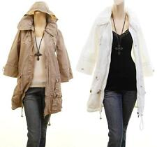 Women Hooded Outerwear Windbreaker Parka Anorak Long Jacket Peacoat Trench Coat
