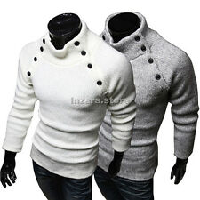 New Fashion Mens Turtleneck Slim Fit Long Sleeve Knit Cardigan Pullover Sweaters