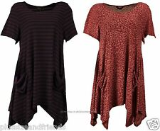 MARINA KANEVA Women Ladie Animal Print Stripe Pocket Tunic Dress Top Plus Size