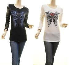 Celebrity Gothic Angel Wing Graphic Stone Lace Fitted Tunic Shirt Blouse Top Tee