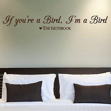 THE NOTEBOOK, LARGE WALL STICKER, Bird, Quote, Love, Decal, WallArt, SS433