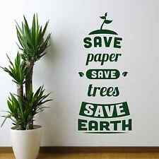 Save Paper, environment, green, Wall Sticker Decal, SS2027