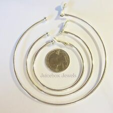 Clip on Pierced Look Hypo-allergenic Thin HOOP Silvertone Non-Pierced Earrings