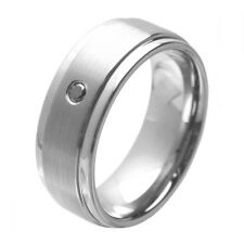 Tungsten Ring with Black Diamond, Brushed Tungsten Ring, Stepped Edges,