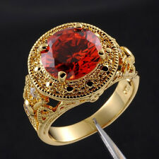 Size 9,10,11 Deluxe Jewelry Mens Round Garnet 18K Yellow Gold Filled Ring Gift