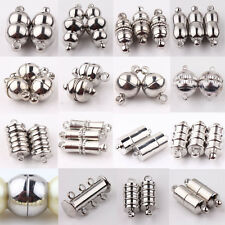10Pc Silver Plated Rectangle Round Strong Magnetic Clasps Hook Jewelry Findings