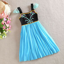 Baby Kids Girls Princess Frozen Anna Flower Party One-pieces Fancy Dress 4-10Y