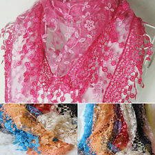 Candy Lace Rose Floral Knit Triangle Hollow Tassel Mantilla Scarf Shawl Wrap Top
