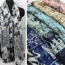 Women's Fashion Tribal Floral Elephants Print Voile Long Scarf Ladies Wrap Shawl
