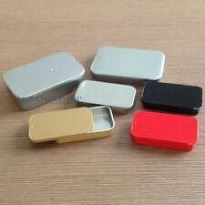 10 X Flat Metal Iron Case for Memory SD Card Storage Craft Box Slide Lid Silver