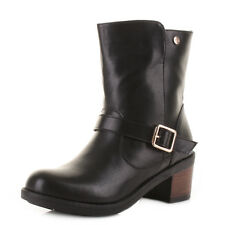 Womens Xti 27283 Black Leather Style Block Mid Heel Biker Ankle Boots Size