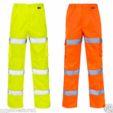 Hi Viz 3 Band Combat Cargo Mens Trouser  Highways  Elasticated Waist knee pocket