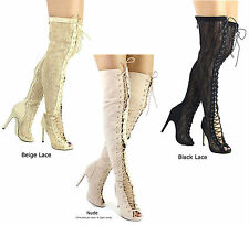 New Olga _YH Lace Up Open Toe Thigh High Over the Knee Heels Boots Size 6-11