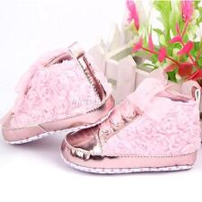 Infant Toddler Baby Girls Rose Flower Soft Sole Lace Up Princess Crib Shoes GLF