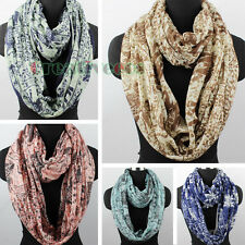 Fashion Women Vines Flowers Elephants Print Tribal Style Long/Infinity Scarf New