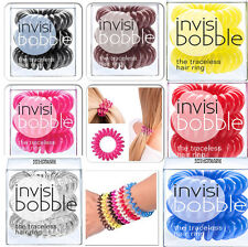 InvisiBobble TRACELESS HAIR RING & BRACELET HAIR BAND, ALL COLOURS, 3 PCS IN BOX