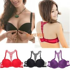 Sexy Women Fashion Ladies Front Closure Lace Racer Back Push Up Seamless Bra
