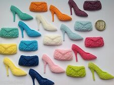 EDIBLE SUGAR CUPCAKE TOPPERS  1 TEXTURED SHOE AND 1 CLUTCH BAG CAKE DECORATION